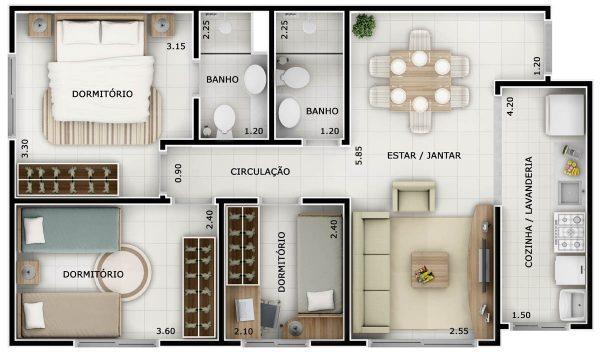Plantas De Casas Com 2 Quartos E Cozinha Americana Simple Projetos