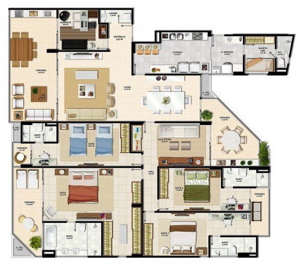 Plantas de casas com 4 quartos