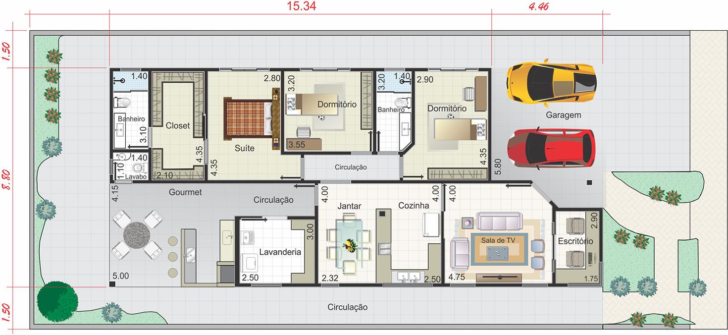 Planta Casas 3 Quartos Terreno 10×25 Quartos E Garagem Projeto