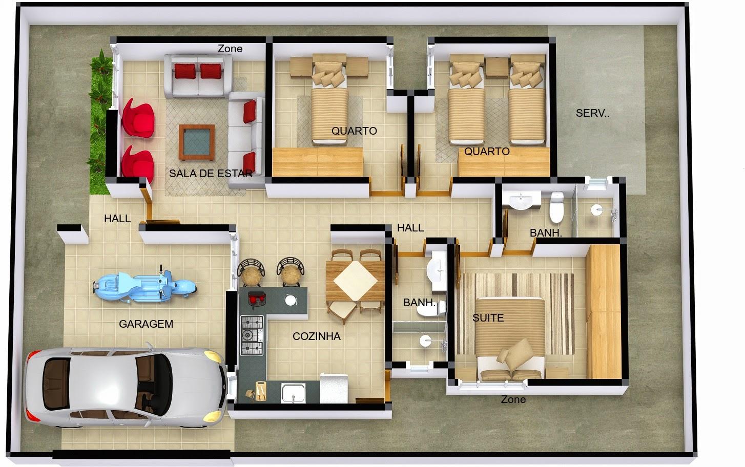 Plantas de casas com 3 quartos for Casa moderna 2 andares 3 quartos