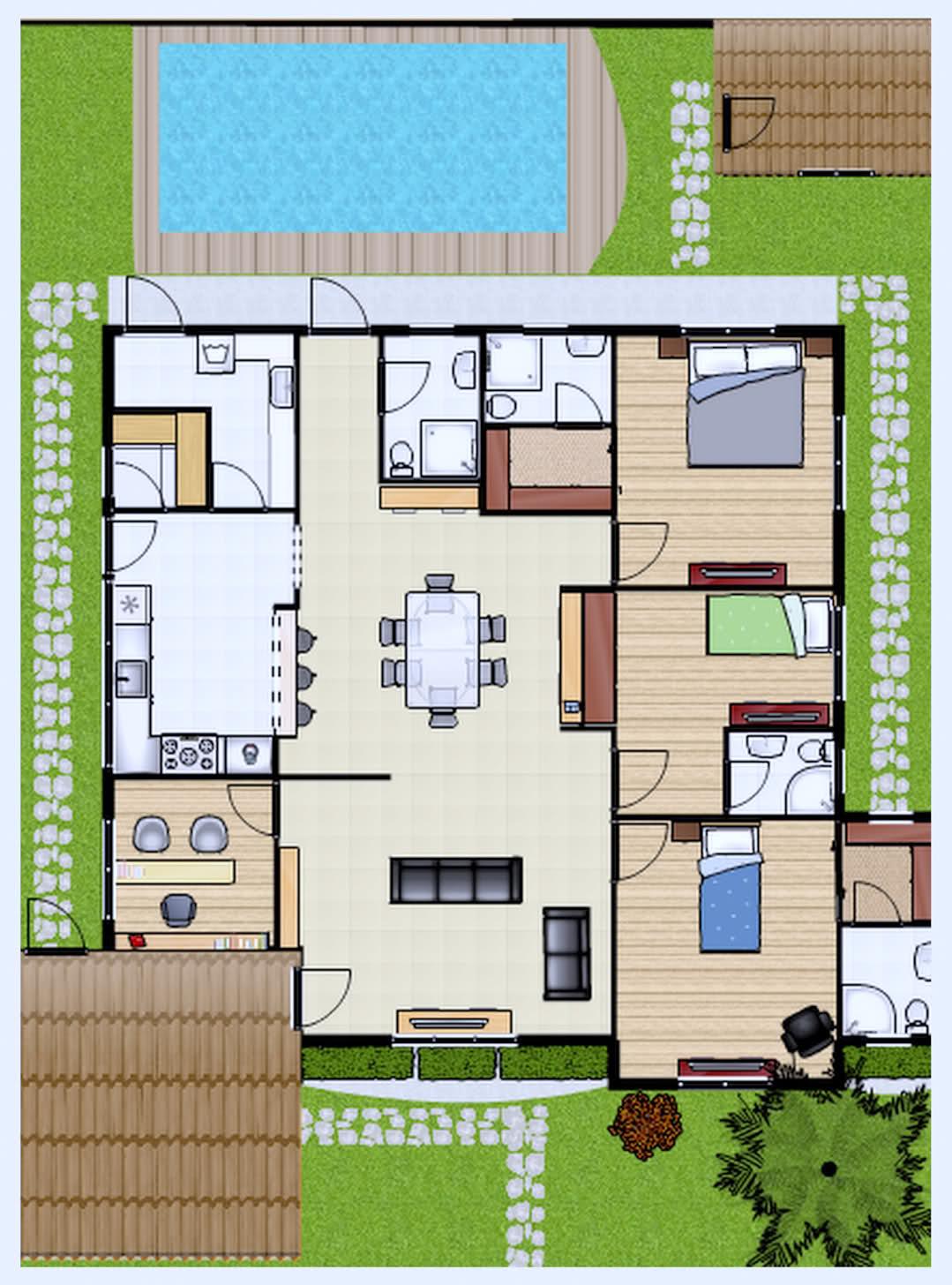 Plantas de casas com piscinas for Plantas para piscinas