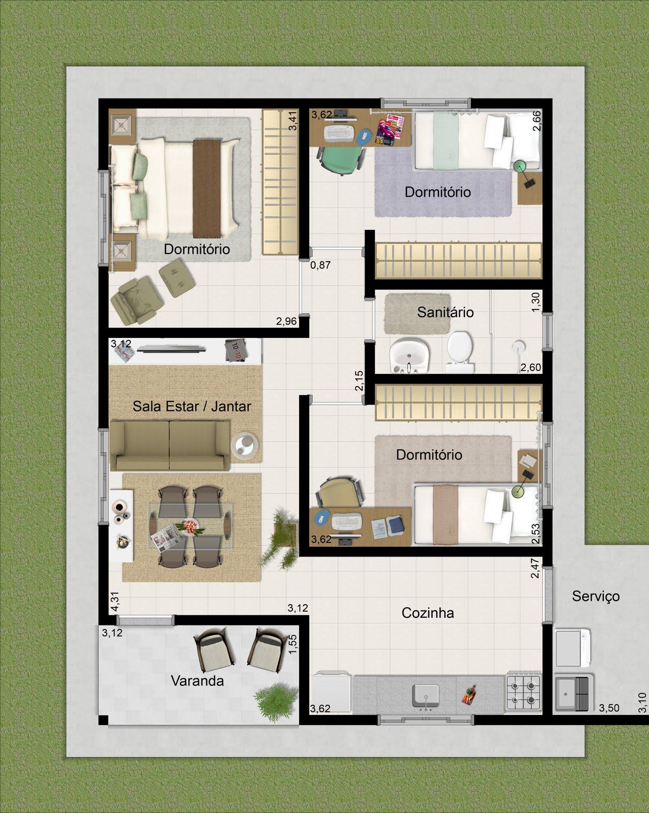 Plantas de casas com 3 quartos for Plantas arquitectonicas de casas