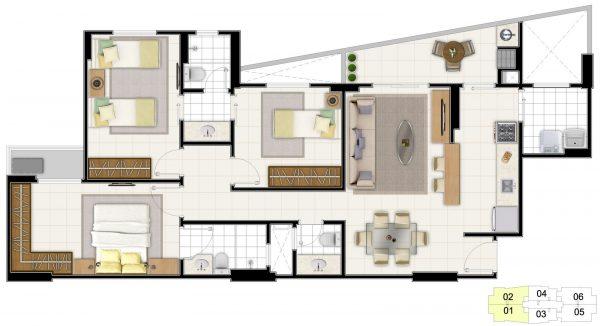 Plantas de casas com 3 quartos e closet #476522 1600 870