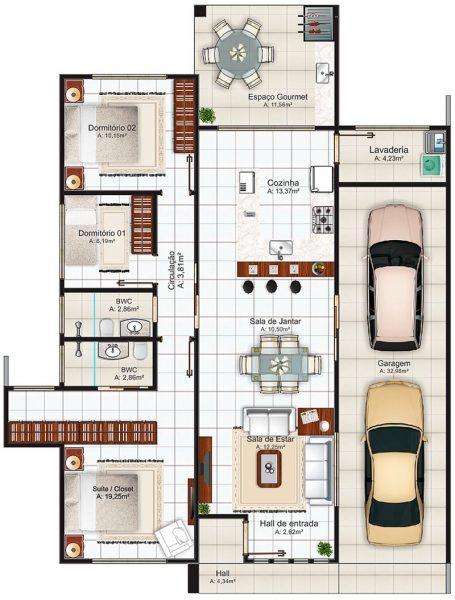 Plantas De Casas Americanas Com 3 Quartos Planta De Casa Moderna