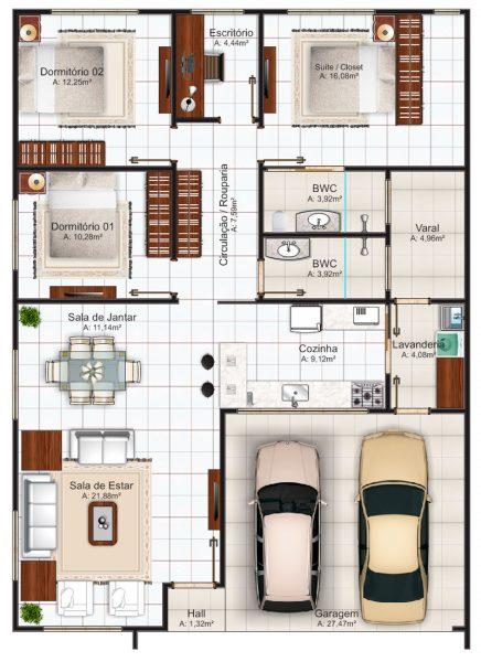 Plantas de casas com 3 quartos e closet for Casa moderna 80m2