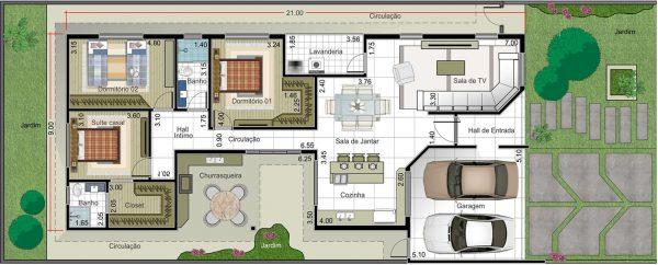 Plantas de casas com 3 quartos e closet for Casa moderna 7x20