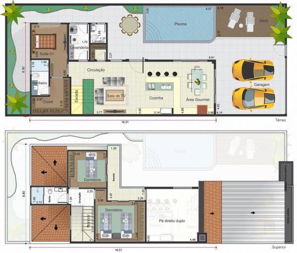 Top 10 Plantas de casas duplex RO84