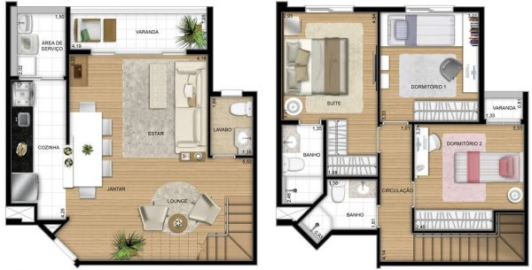 10 plantas de casas duplex for Plantas para casa