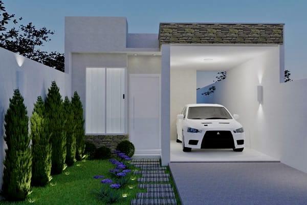 Projetos de casas com telhado embutido