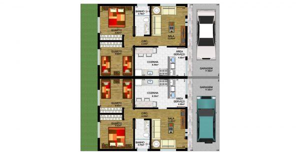 Plantas de casas com 3 quartos e closet for Jardins mangueiral planta 3 quartos