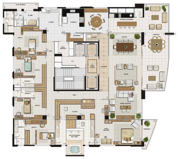 Plantas de casas grandes 5 modelos lindos para inspirar for Modelos de casas grandes