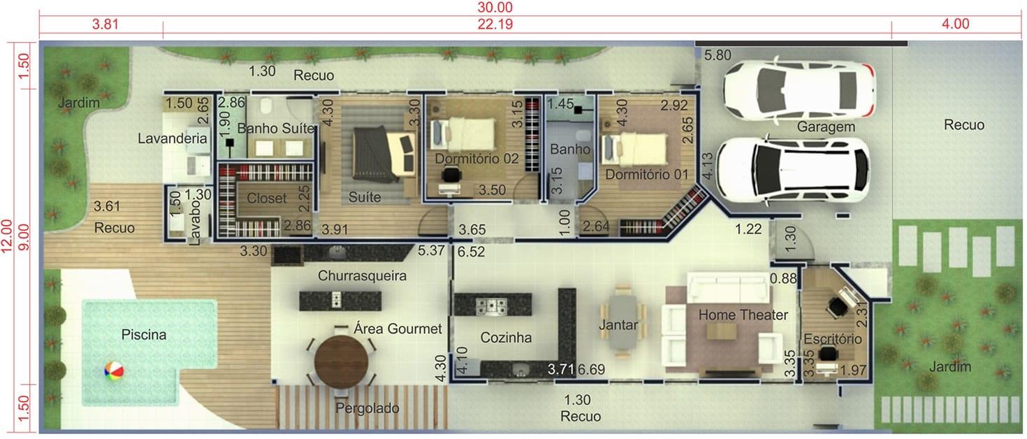 Plantas De Casas 3 Quartos 1 Suite Cozinha Americana Free Planta De