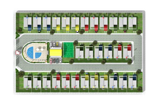 Condomínio com área de lazer centralizada
